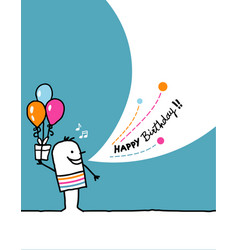 Cartoon hand drawn greeting card - birthday vector