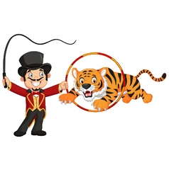 Cartoon tiger jumping through ring vector image