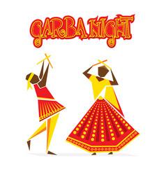 Celebrate navratri festival with dancing garba vector
