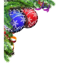 Christmas tree balls with ribbon vector