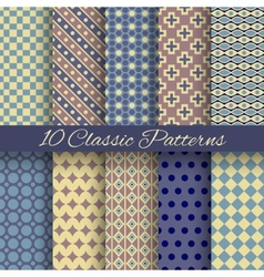 Classic different seamless patterns tiling vector image vector image