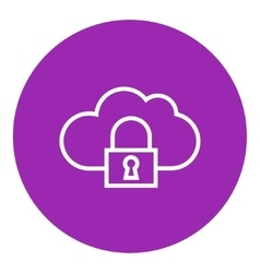 Cloud computing security line icon vector image