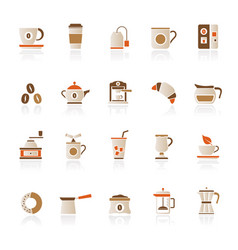 coffee and tea related icons vector image