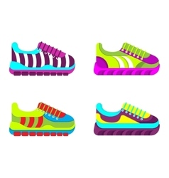 Color fashionable sneakers vector