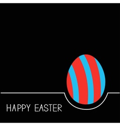 Colored Happy Easter egg White line Red blue on vector