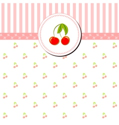 Colorful Cherry Greeting Card vector image