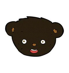 Comic cartoon black bear face vector