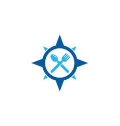 Compass food logo icon design vector