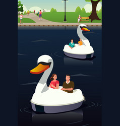 couple riding duck boat vector image