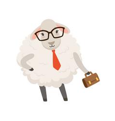 Cute businessman sheep character wearing glasses vector