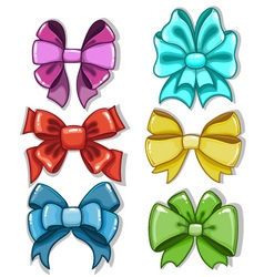 Cute cartoon bows of different shapes and colors vector image