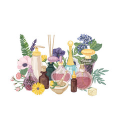 Decorative composition with perfume or toilet vector