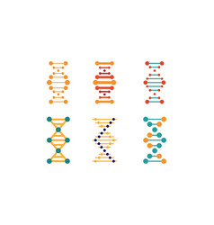 Dna strands set spiral genetic material signs vector