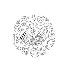 Doodle accordion coloring page vector