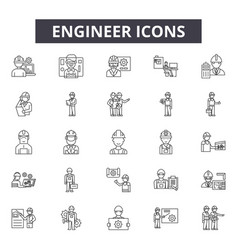 Engineer line icons for web and mobile design vector