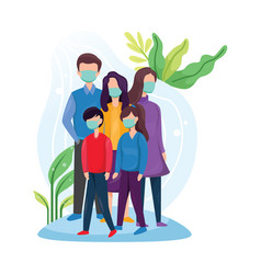 Family in medical masks vector