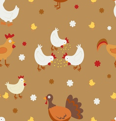 Farm birds pattern vector image