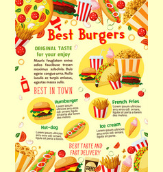 Fast food burgers delivery menu poster vector