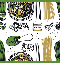 Food collection miso soup seamless pattern vector