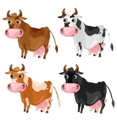 Four spotted cartoon cows animals vector