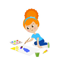 girl sitting on the floor and draw a picture vector image