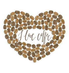 hand-drawn coffee heart with lettering vector image
