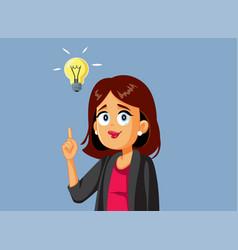 Happy business woman having a brilliant idea vector
