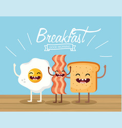 Happy fried egg with bacon and sliced bread vector