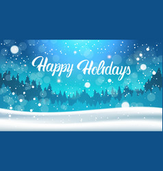 happy holidays background night in winter forest vector image