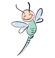 happy smiling dragonfly on white background vector image