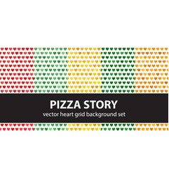 Heart pattern set pizza story seamless vector