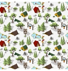 Hiking composition in isometric elments vector image