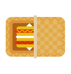 hot dogs in picnic basket flat isolated vector image