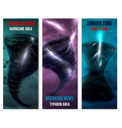 Hurricane vertical banners set vector