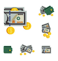Icons beautiful green wallets with money vector