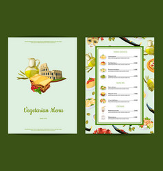Italian cuisine cafe or restaurant menu vector