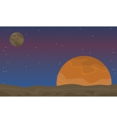 Landscape of outer space with planet vector image