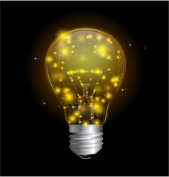 Light bulb and magic lights vector image
