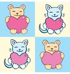 Lovers cartoon cats set vector image