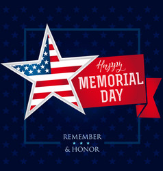 memorial day remember and honor star banner vector image