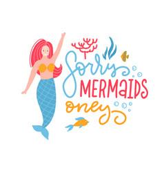 mermaid party cartoon poster template girl vector image