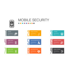 Mobile security infographic 10 option line concept vector