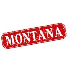 Montana red square grunge retro style sign vector