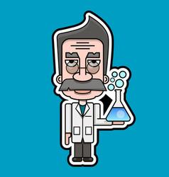 Old scientist icon retro cartoon design vector