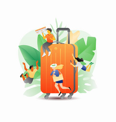 orange suitcase and tiny people vector image