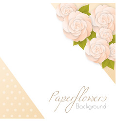 Paper flowers background with place for text vector