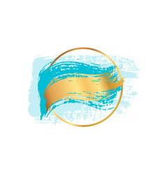 Pastel blue brush strokes and gold lines circle vector
