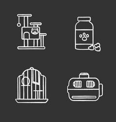 pets supplies chalk icons set vector image