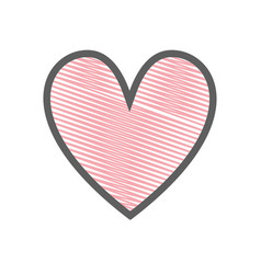 Pink cute heart love icon vector