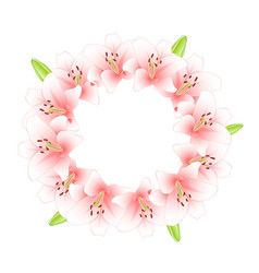 pink lily wreath vector image